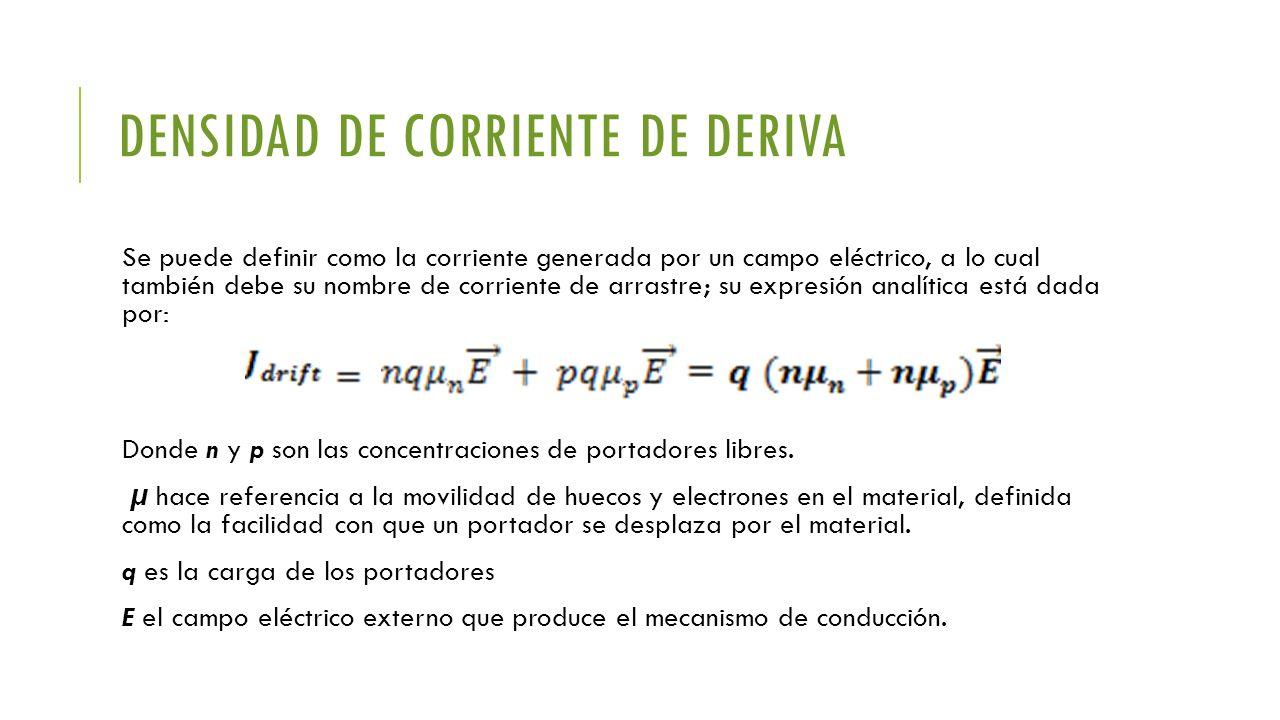 DENSIDAD DE CORRIENTE DE DERIVA Se puede definir como la corriente generada por un campo eléctrico, a lo cual también debe su nombre de corriente de a