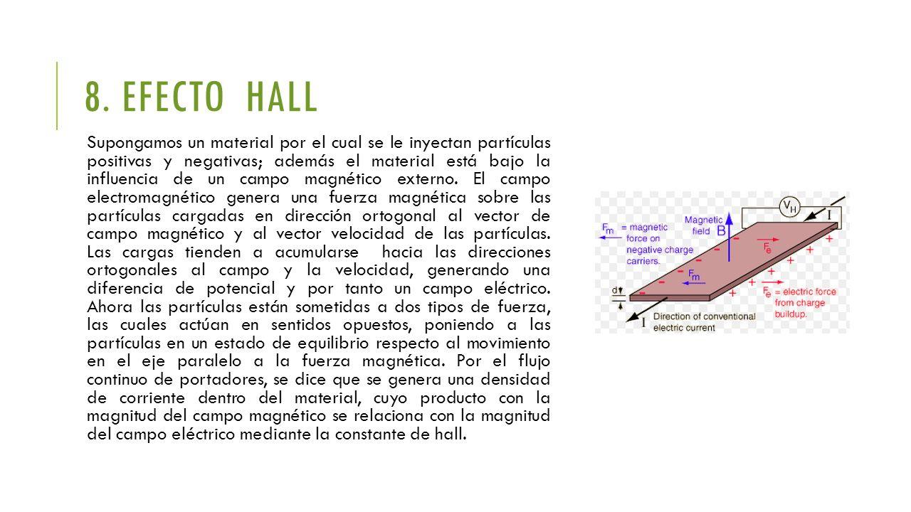 8. EFECTO HALL Supongamos un material por el cual se le inyectan partículas positivas y negativas; además el material está bajo la influencia de un ca