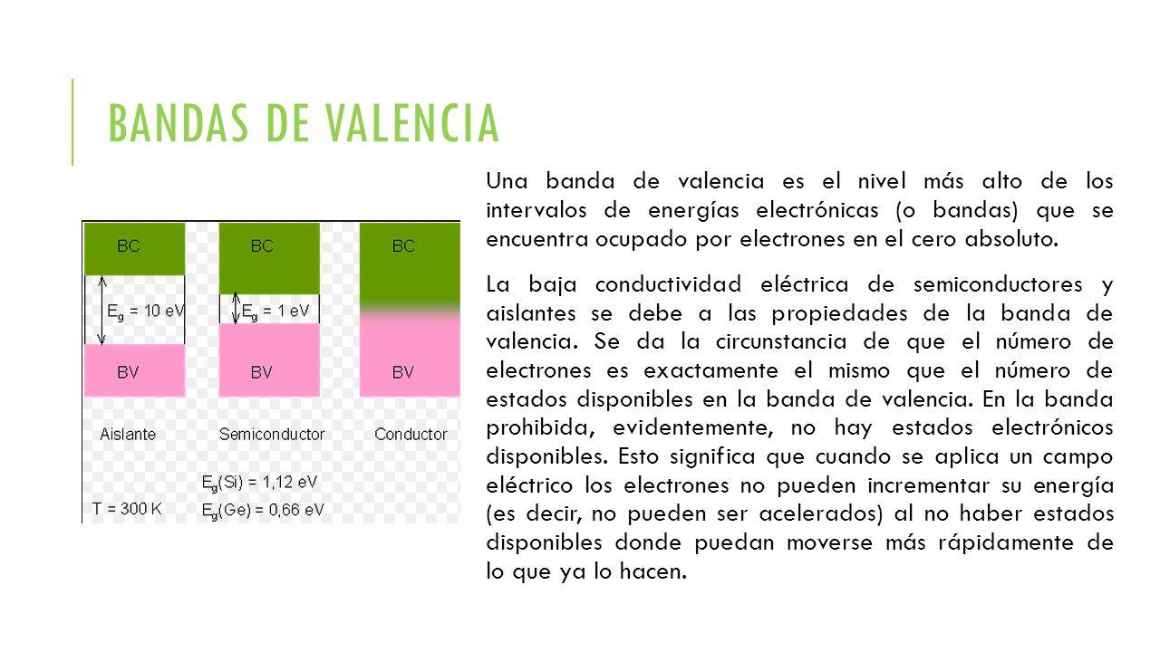 BANDAS DE CONDUCCION En semiconductores y aislantes, la banda de conducción es el intervalo de energías electrónicas que, estando por encima de la banda de valencia, permite a los electrones sufrir aceleraciones por la presencia de un campo eléctrico externo y, por tanto, permite la presencia de corrientes eléctricas.