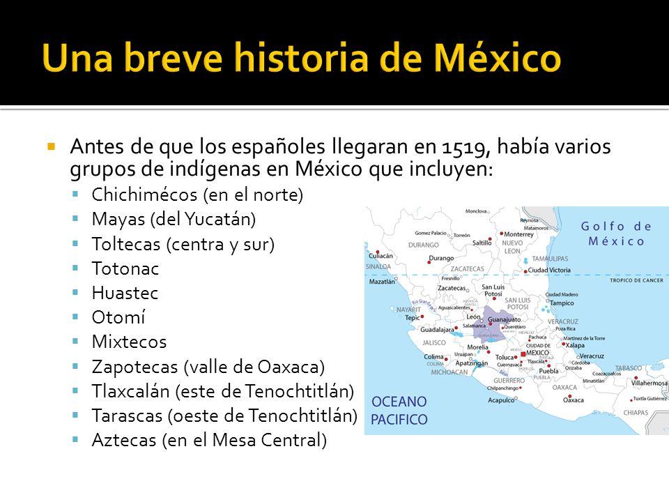 Antes de que los españoles llegaran en 1519, había varios grupos de indígenas en México que incluyen: Chichimécos (en el norte) Mayas (del Yucatán) Toltecas (centra y sur) Totonac Huastec Otomí Mixtecos Zapotecas (valle de Oaxaca) Tlaxcalán (este de Tenochtitlán) Tarascas (oeste de Tenochtitlán) Aztecas (en el Mesa Central)