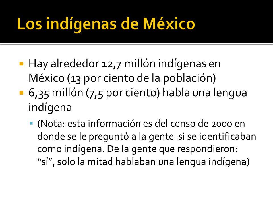 Hay alrededor 12,7 millón indígenas en México (13 por ciento de la población) 6,35 millón (7,5 por ciento) habla una lengua indígena (Nota: esta información es del censo de 2000 en donde se le preguntó a la gente si se identificaban como indígena.