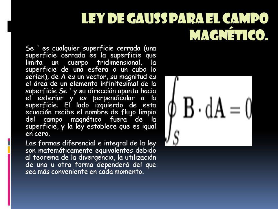 Ley de gauss para el campo magnético. Establece que el flujo del vector del campo magnético B es cero a través de cualquier superficie cerrada. Esta e