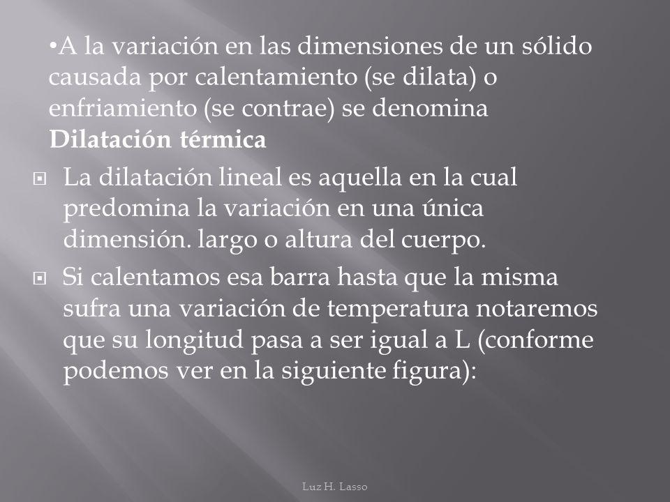 La dilatación lineal es aquella en la cual predomina la variación en una única dimensión. largo o altura del cuerpo. Si calentamos esa barra hasta que