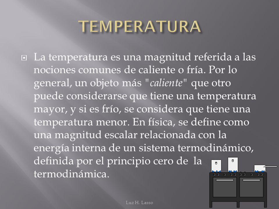La temperatura es una magnitud referida a las nociones comunes de caliente o fría. Por lo general, un objeto más