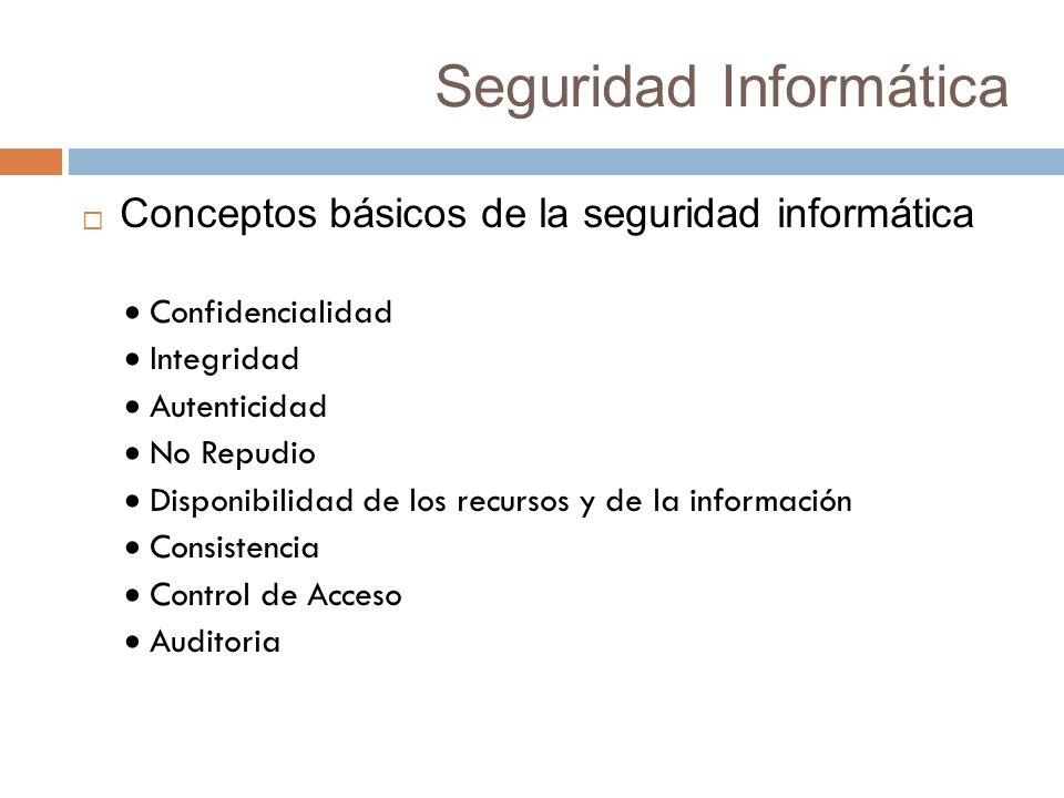 Seguridad Informática Conceptos básicos de la seguridad informática Confidencialidad Integridad Autenticidad No Repudio Disponibilidad de los recursos y de la información Consistencia Control de Acceso Auditoria