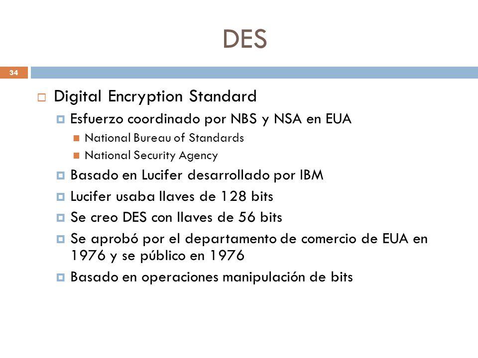 DES 34 Digital Encryption Standard Esfuerzo coordinado por NBS y NSA en EUA National Bureau of Standards National Security Agency Basado en Lucifer desarrollado por IBM Lucifer usaba llaves de 128 bits Se creo DES con llaves de 56 bits Se aprobó por el departamento de comercio de EUA en 1976 y se público en 1976 Basado en operaciones manipulación de bits