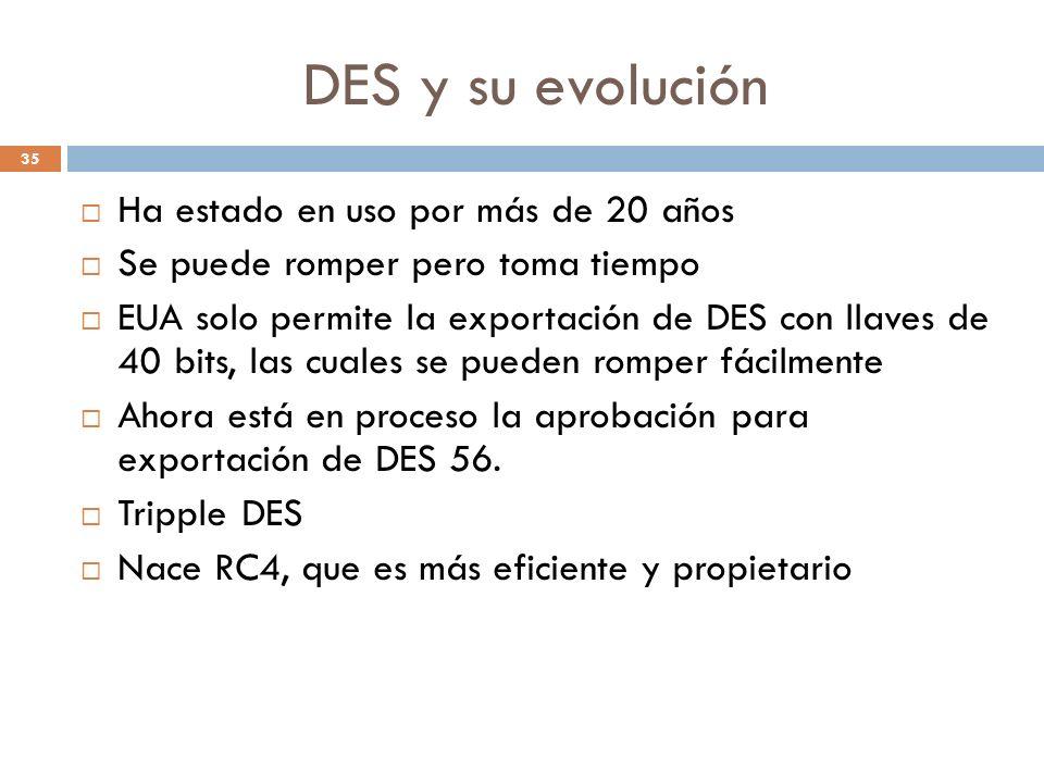 DES y su evolución 35 Ha estado en uso por más de 20 años Se puede romper pero toma tiempo EUA solo permite la exportación de DES con llaves de 40 bits, las cuales se pueden romper fácilmente Ahora está en proceso la aprobación para exportación de DES 56.