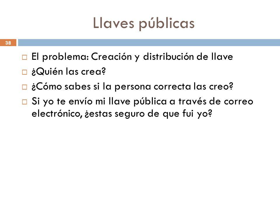 Llaves públicas 38 El problema: Creación y distribución de llave ¿Quién las crea.