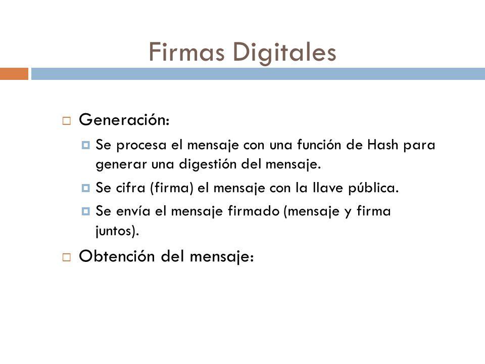 Firmas Digitales Generación: Se procesa el mensaje con una función de Hash para generar una digestión del mensaje.