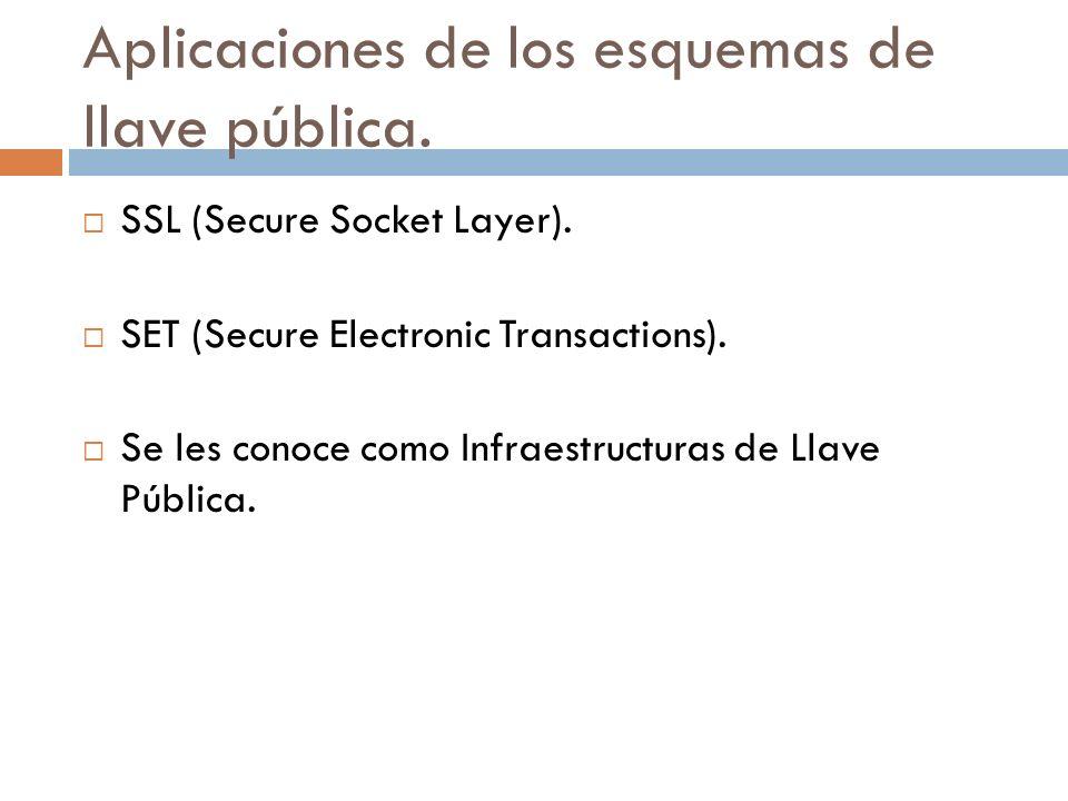 Aplicaciones de los esquemas de llave pública.SSL (Secure Socket Layer).