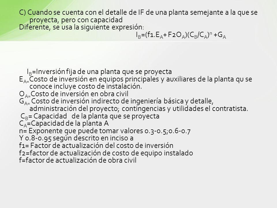 C) Cuando se cuenta con el detalle de IF de una planta semejante a la que se proyecta, pero con capacidad Diferente, se usa la siguiente expresión: I