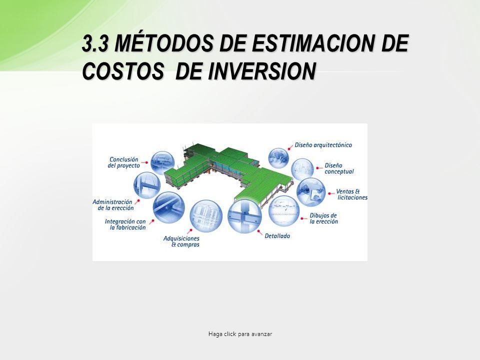 Haga click para avanzar 3.3 MÉTODOS DE ESTIMACION DE COSTOS DE INVERSION
