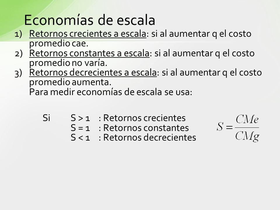 Economías de escala 1)Retornos crecientes a escala: si al aumentar q el costo promedio cae. 2)Retornos constantes a escala: si al aumentar q el costo