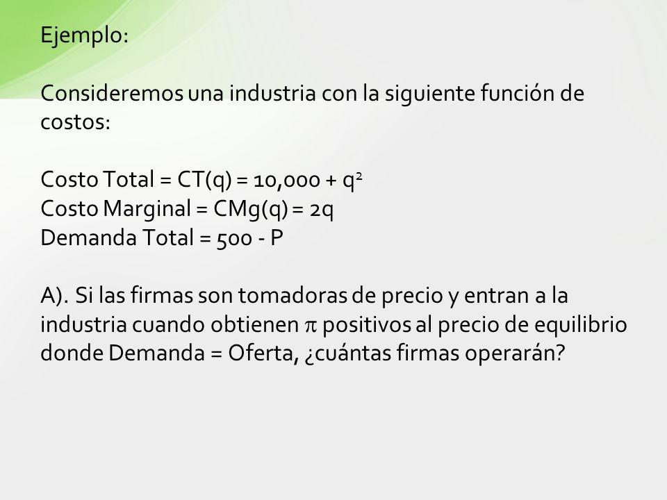 Ejemplo: Consideremos una industria con la siguiente función de costos: Costo Total = CT(q) = 10,000 + q 2 Costo Marginal = CMg(q) = 2q Demanda Total