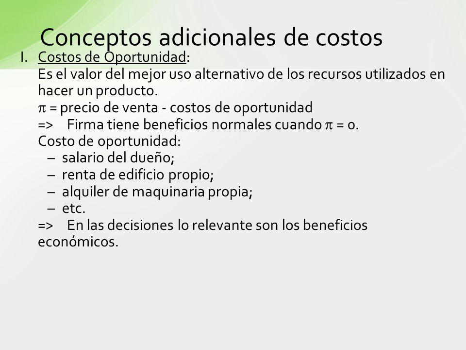 Conceptos adicionales de costos I.Costos de Oportunidad: Es el valor del mejor uso alternativo de los recursos utilizados en hacer un producto. = prec