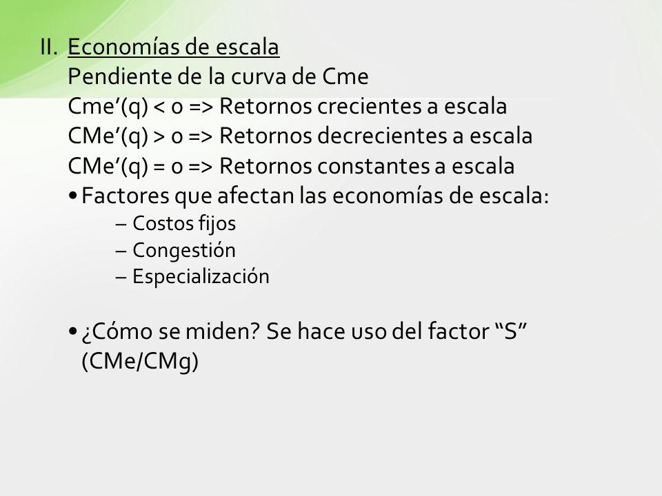 II.Economías de escala Pendiente de la curva de Cme Cme(q) Retornos crecientes a escala CMe(q) > 0 => Retornos decrecientes a escala CMe(q) = 0 => Ret