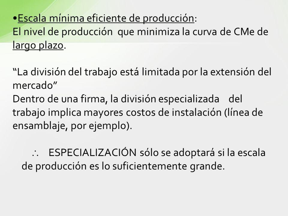 Escala mínima eficiente de producción: El nivel de producción que minimiza la curva de CMe de largo plazo. La división del trabajo está limitada por l