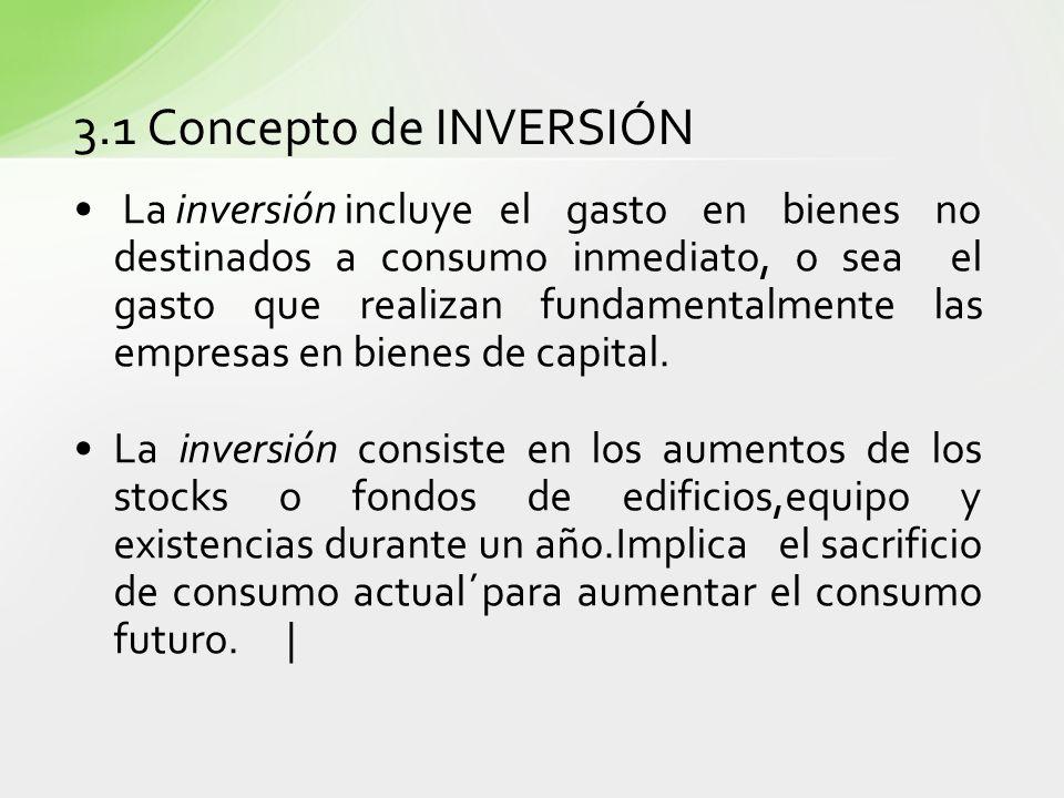 3.1 Concepto de INVERSIÓN La inversión incluyeel gasto en bienes no destinados a consumo inmediato, o sea el gasto que realizan fundamentalmente las e