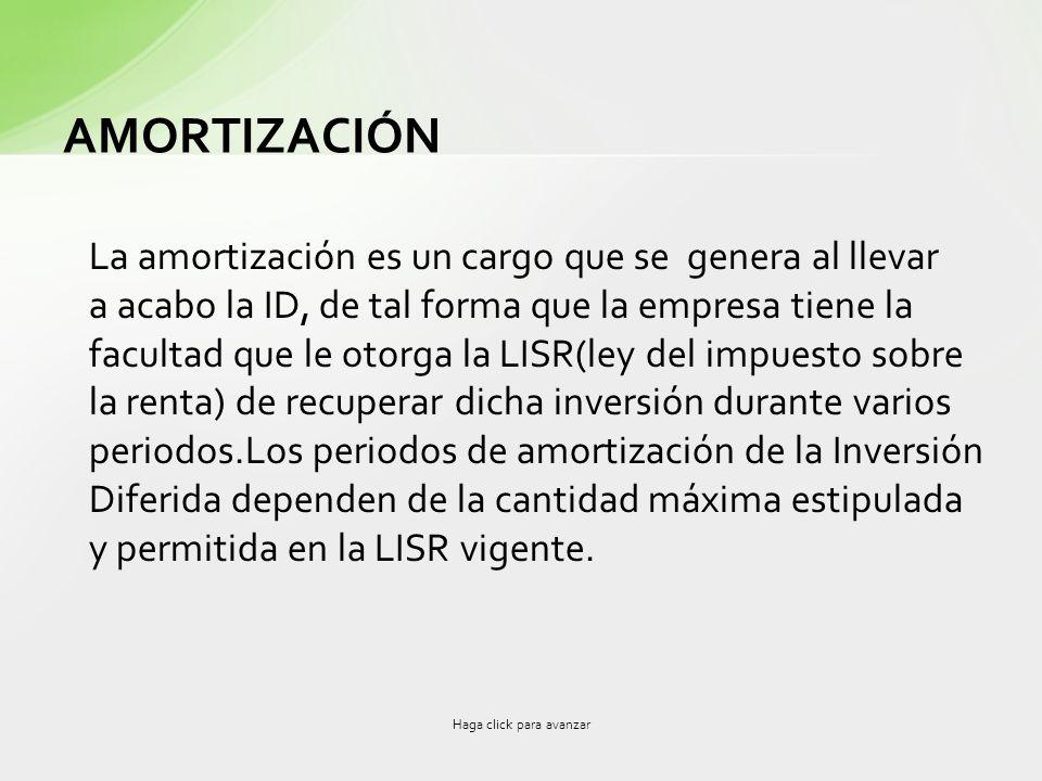 AMORTIZACIÓN La amortización es un cargo que se genera al llevar a acabo la ID, de tal forma que la empresa tiene la facultad que le otorga la LISR(le