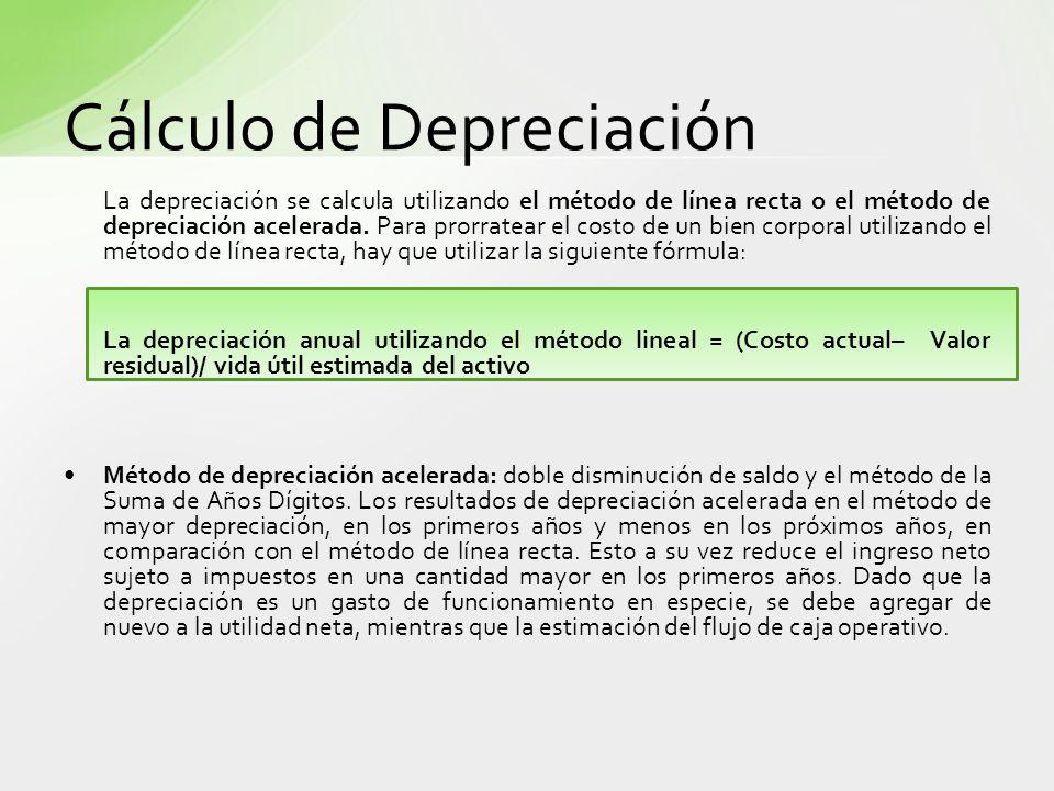La depreciación se calcula utilizando el método de línea recta o el método de depreciación acelerada. Para prorratear el costo de un bien corporal uti