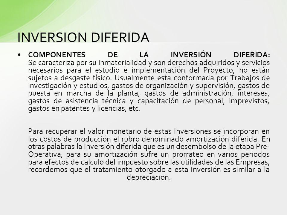 INVERSION DIFERIDA COMPONENTES DE LA INVERSIÓN DIFERIDA: Se caracteriza por su inmaterialidad y son derechos adquiridos y servicios necesarios para el