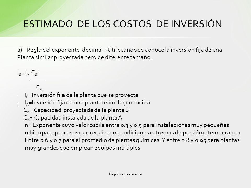 Haga click para avanzar ESTIMADO DE LOS COSTOS DE INVERSIÓN a)Regla del exponente decimal.- Útil cuando se conoce la inversión fija de una Planta simi