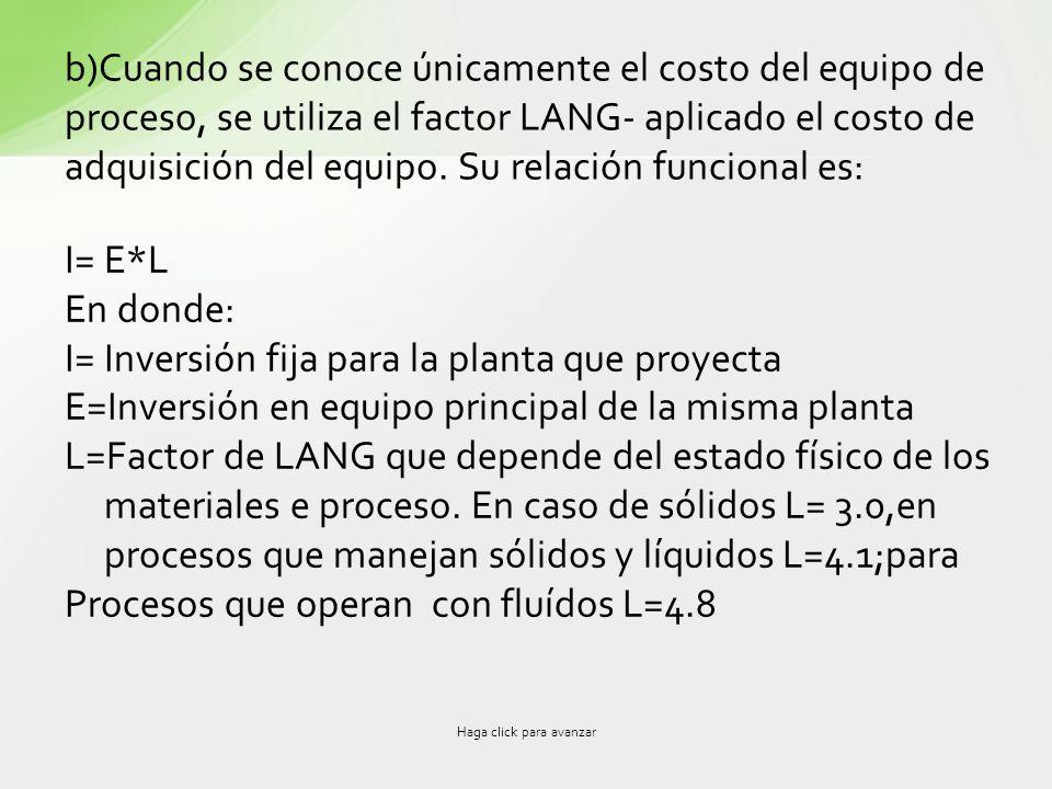 b)Cuando se conoce únicamente el costo del equipo de proceso, se utiliza el factor LANG- aplicado el costo de adquisición del equipo. Su relación func