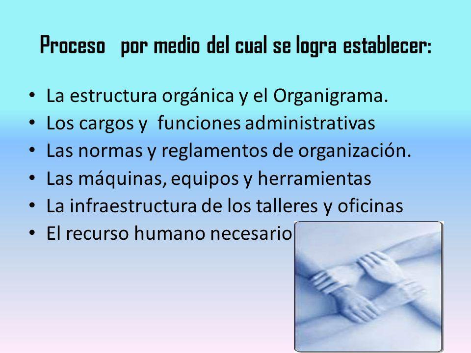 Proceso por medio del cual se logra establecer: La estructura orgánica y el Organigrama. Los cargos y funciones administrativas Las normas y reglament