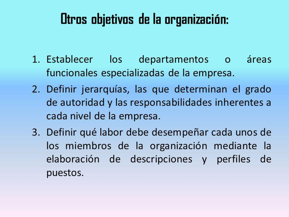 Otros objetivos de la organización: 1.Establecer los departamentos o áreas funcionales especializadas de la empresa. 2.Definir jerarquías, las que det