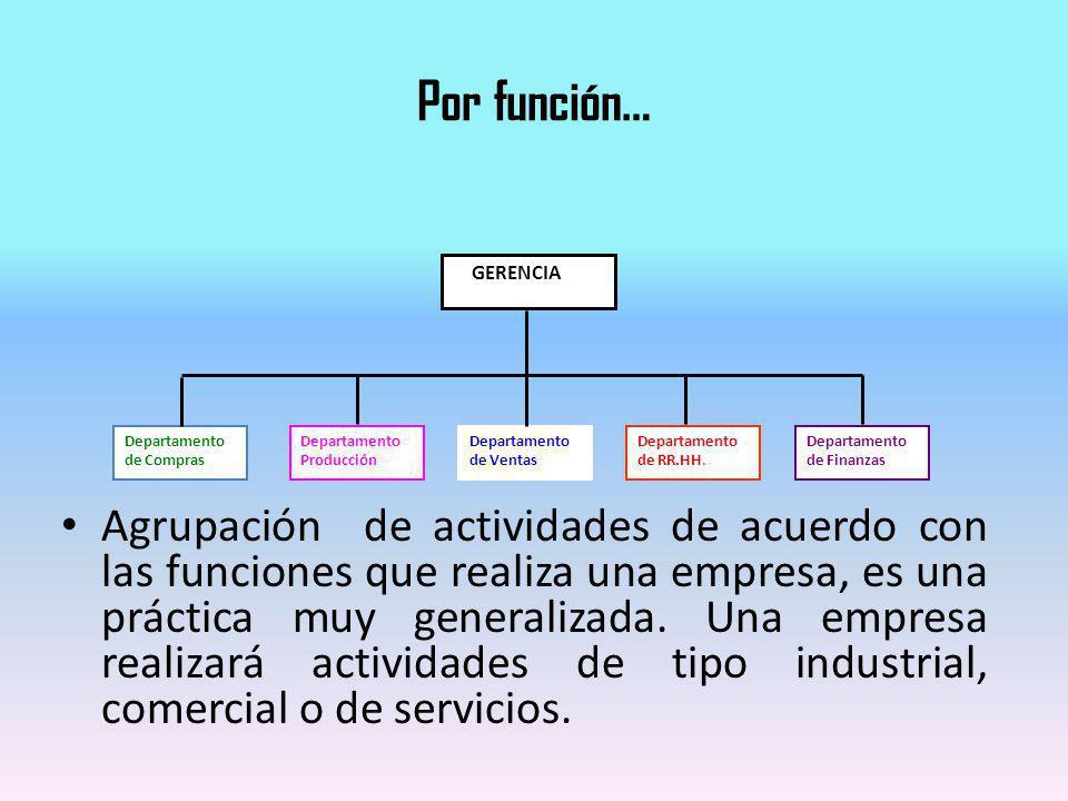 Por función… Agrupación de actividades de acuerdo con las funciones que realiza una empresa, es una práctica muy generalizada. Una empresa realizará a