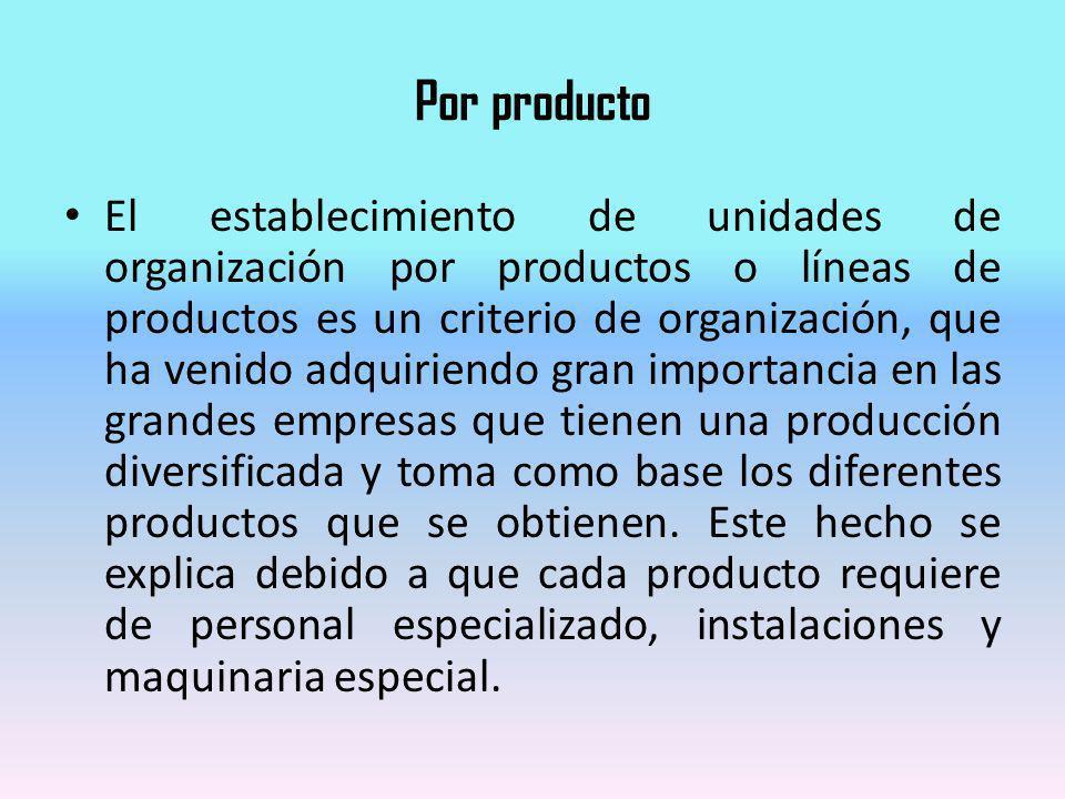 Por producto El establecimiento de unidades de organización por productos o líneas de productos es un criterio de organización, que ha venido adquirie