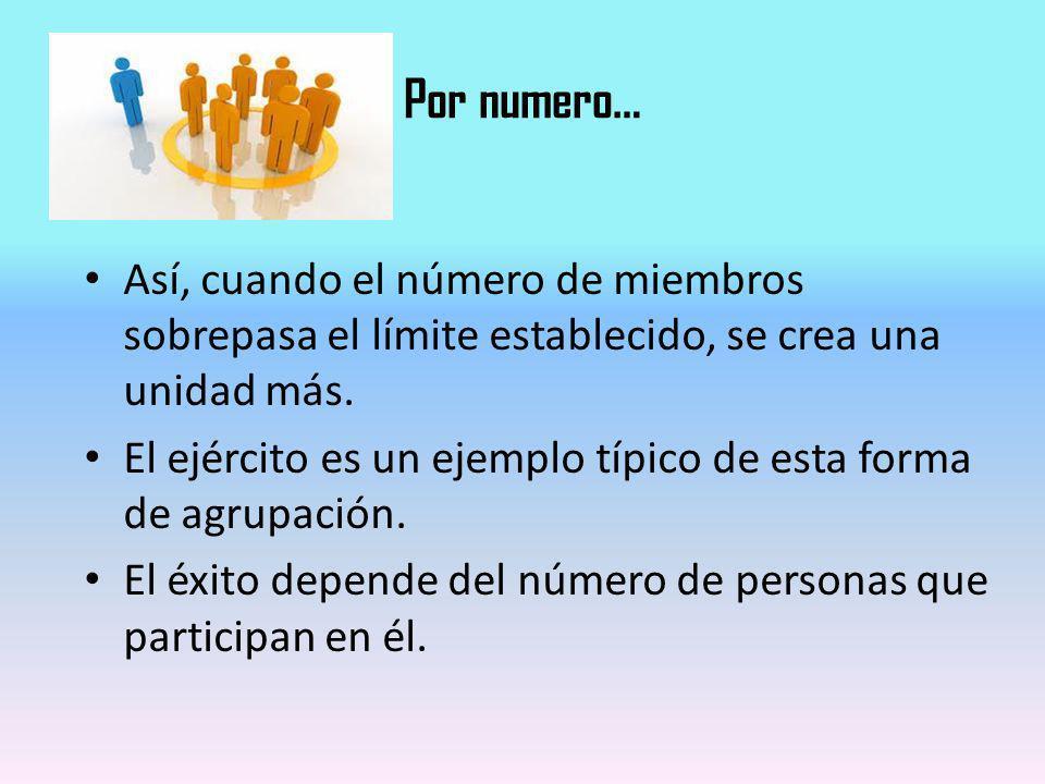 Por numero… Así, cuando el número de miembros sobrepasa el límite establecido, se crea una unidad más. El ejército es un ejemplo típico de esta forma