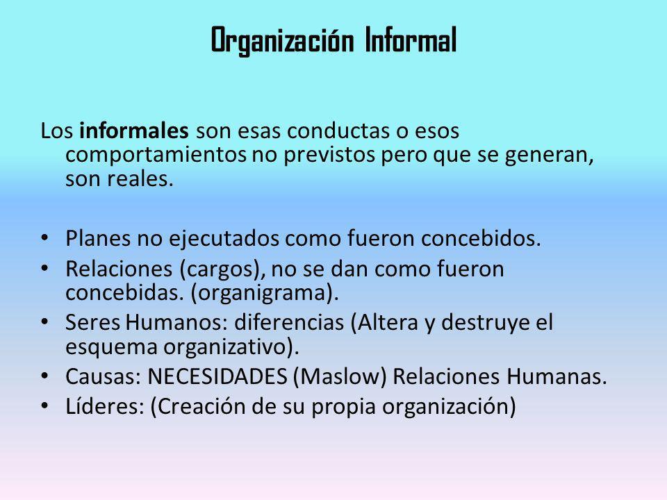 Organización Informal Los informales son esas conductas o esos comportamientos no previstos pero que se generan, son reales. Planes no ejecutados como