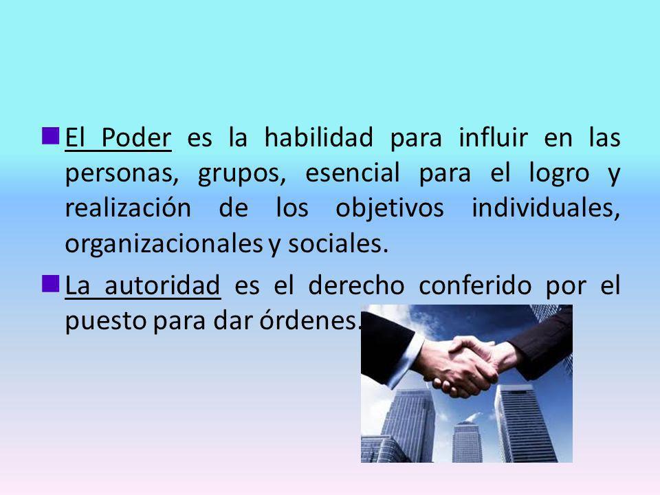 nEl Poder es la habilidad para influir en las personas, grupos, esencial para el logro y realización de los objetivos individuales, organizacionales y