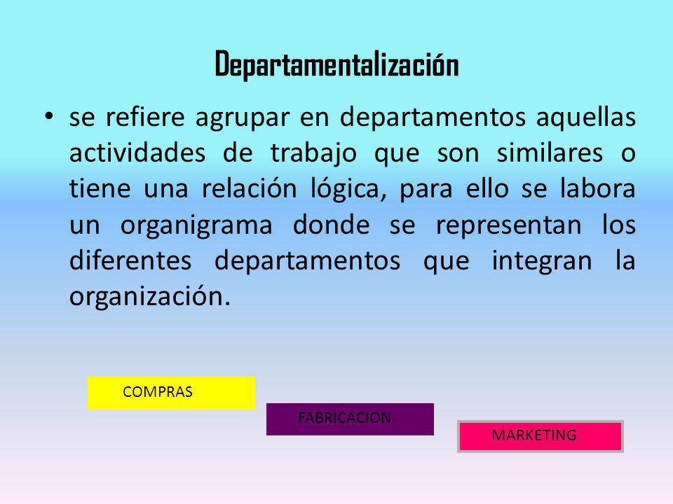 Departamentalización se refiere agrupar en departamentos aquellas actividades de trabajo que son similares o tiene una relación lógica, para ello se l