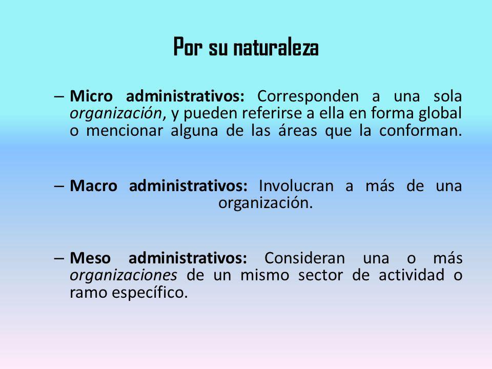 Por su naturaleza – Micro administrativos: Corresponden a una sola organización, y pueden referirse a ella en forma global o mencionar alguna de las á