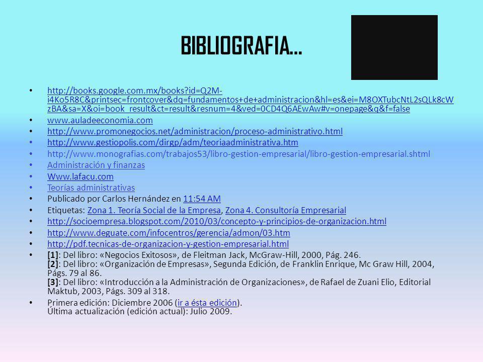 BIBLIOGRAFIA… http://books.google.com.mx/books?id=Q2M- i4Ko5R8C&printsec=frontcover&dq=fundamentos+de+administracion&hl=es&ei=M8OXTubcNtL2sQLk8cW zBA&
