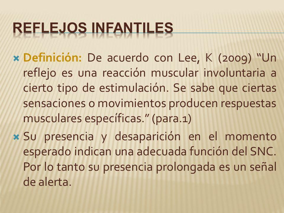 Definición: De acuerdo con Lee, K (2009) Un reflejo es una reacción muscular involuntaria a cierto tipo de estimulación.