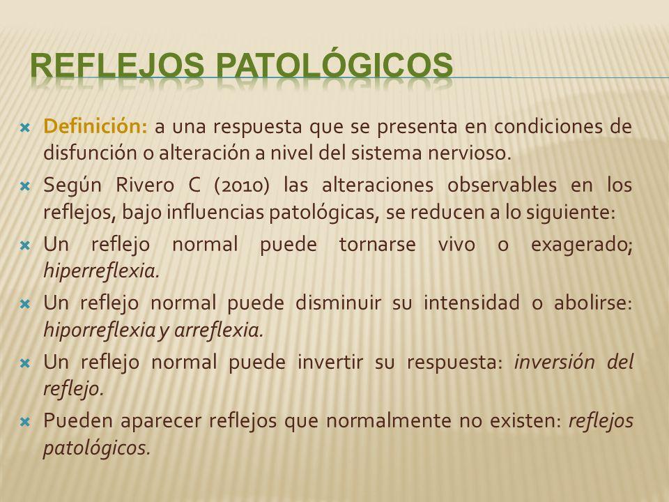 Definición: a una respuesta que se presenta en condiciones de disfunción o alteración a nivel del sistema nervioso.