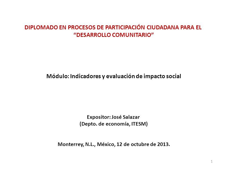 DIPLOMADO EN PROCESOS DE PARTICIPACIÓN CIUDADANA PARA EL DESARROLLO COMUNITARIO Módulo: Indicadores y evaluación de impacto social Expositor: José Sal