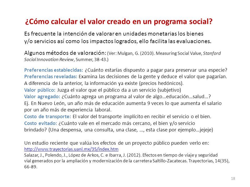 ¿Cómo calcular el valor creado en un programa social? Es frecuente la intención de valorar en unidades monetarias los bienes y/o servicios así como lo