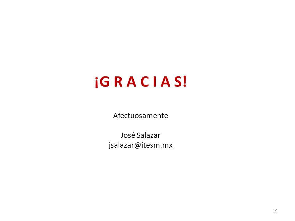 ¡G R A C I A S! Afectuosamente José Salazar jsalazar@itesm.mx 19