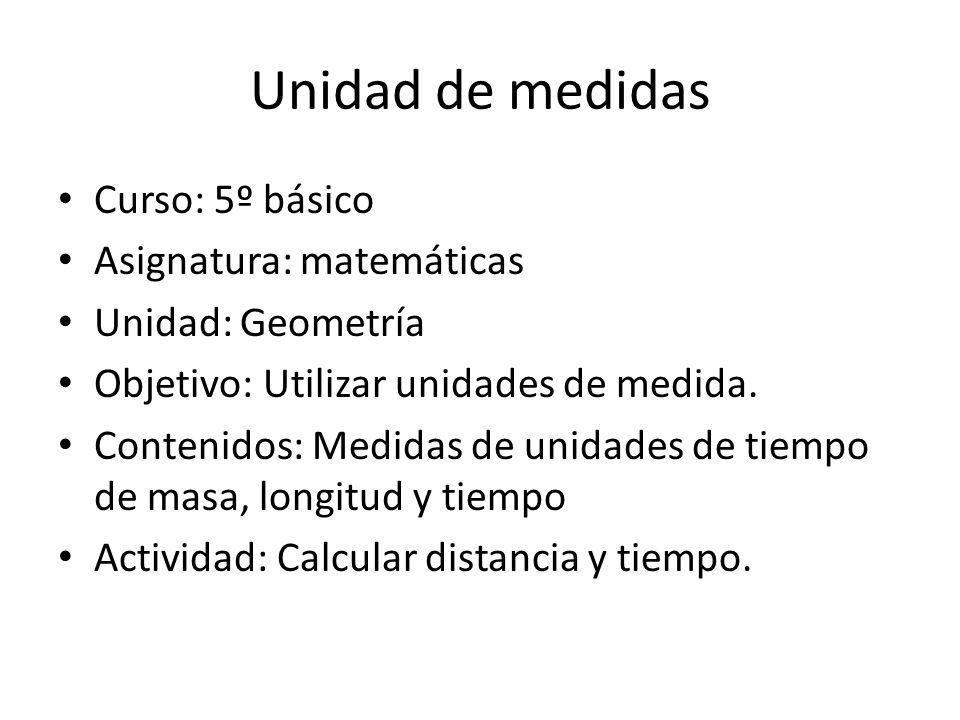 Unidad de medidas Curso: 5º básico Asignatura: matemáticas Unidad: Geometría Objetivo: Utilizar unidades de medida. Contenidos: Medidas de unidades de