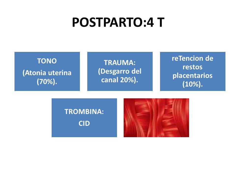 POSTPARTO:4 T TONO (Atonia uterina (70%). TRAUMA: (Desgarro del canal 20%). reTencion de restos placentarios (10%). TROMBINA: CID