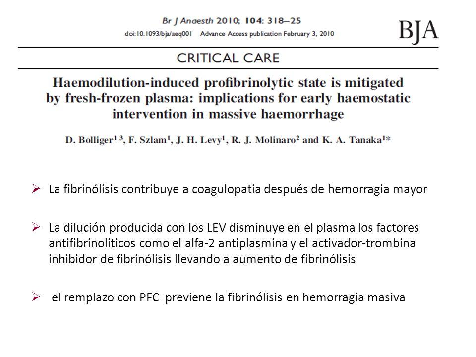La fibrinólisis contribuye a coagulopatia después de hemorragia mayor La dilución producida con los LEV disminuye en el plasma los factores antifibrin