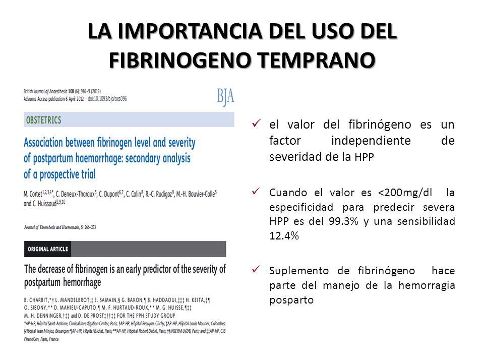 LA IMPORTANCIA DEL USO DEL FIBRINOGENO TEMPRANO el valor del fibrinógeno es un factor independiente de severidad de la HPP Cuando el valor es <200mg/d