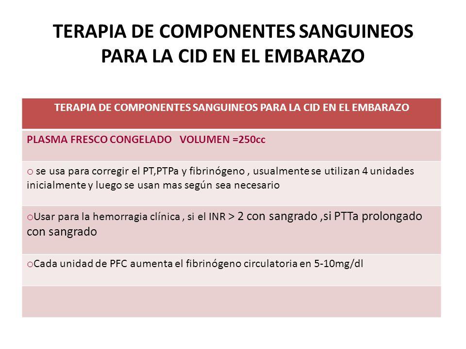 TERAPIA DE COMPONENTES SANGUINEOS PARA LA CID EN EL EMBARAZO PLASMA FRESCO CONGELADO VOLUMEN =250cc o se usa para corregir el PT,PTPa y fibrinógeno, u