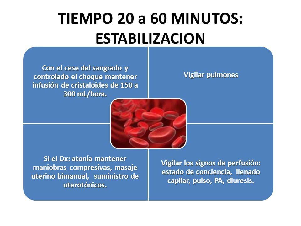 TIEMPO 20 a 60 MINUTOS: ESTABILIZACION Con el cese del sangrado y controlado el choque mantener infusión de cristaloides de 150 a 300 mL/hora. Vigilar