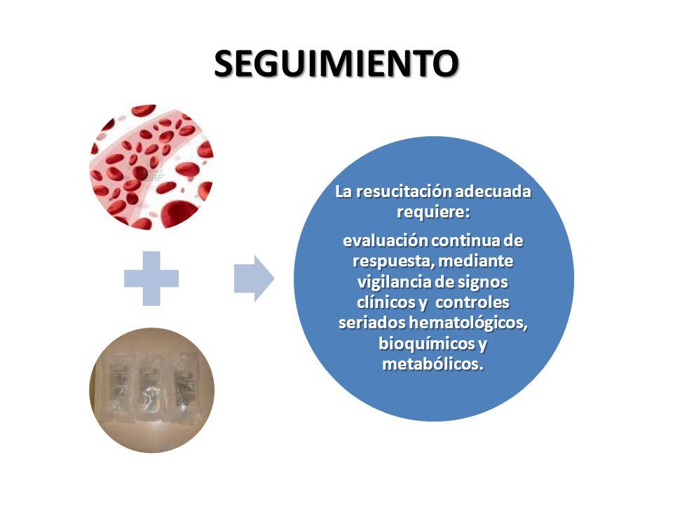 SEGUIMIENTO La resucitación adecuada requiere: evaluación continua de respuesta, mediante vigilancia de signos clínicos y controles seriados hematológ