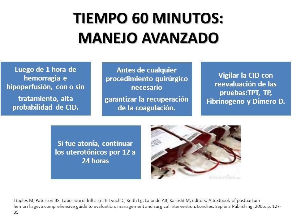 TIEMPO 60 MINUTOS: MANEJO AVANZADO Luego de 1 hora de hemorragia e hipoperfusión, con o sin tratamiento, alta probabilidad de CID. Antes de cualquier